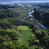 Aerial view of the 16th green at Palencia Club