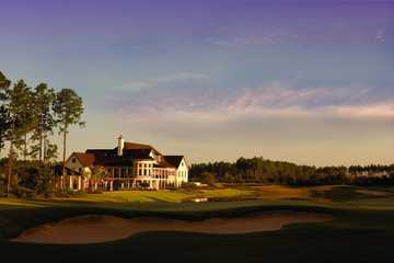 A view of the clubhouse from the 18th fairway at Amelia National Golf & Country Club